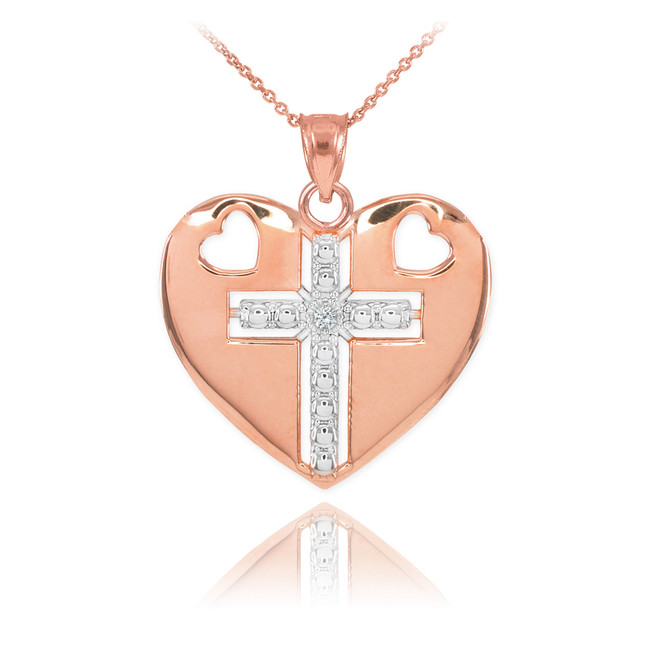 14K Two Tone Rose Gold Heart Cross Diamond Pendant Necklace