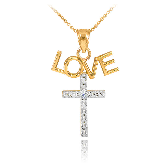 14K Two Tone Gold LOVE Cross Diamond Pendant Necklace