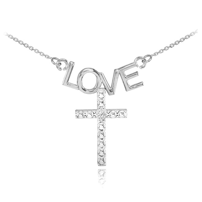 14K White Gold LOVE Cross Diamond Necklace