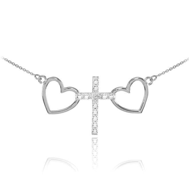 14 K White Gold Heart Cross Diamond Necklace