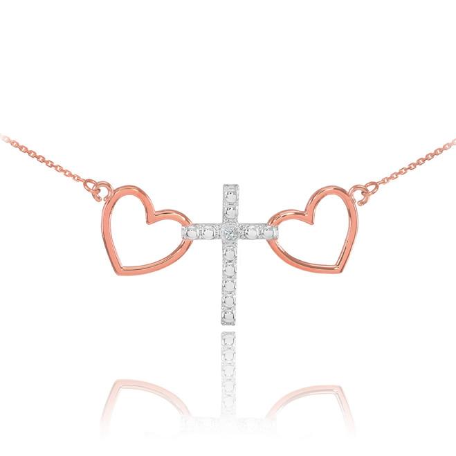 14 K Two Tone Rose Gold Heart Cross Diamond Necklace