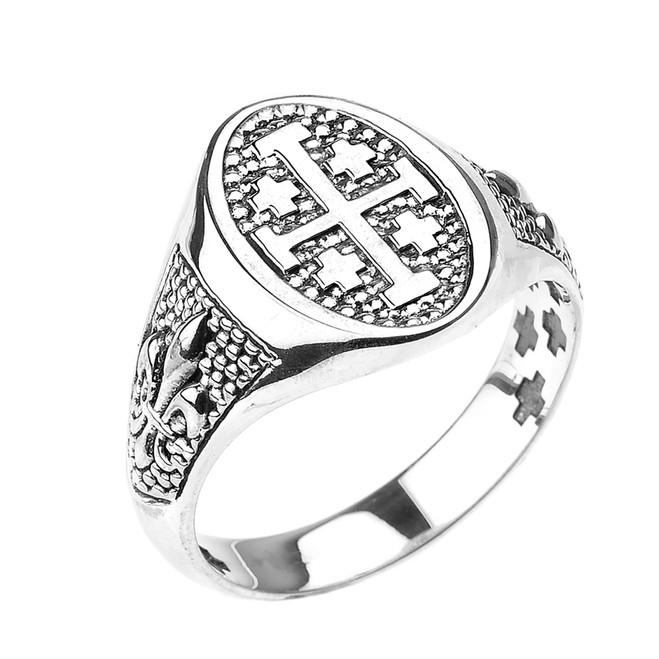 Sterling Silver Jerusalem Cross Unisex Ring with Fleur De Lis
