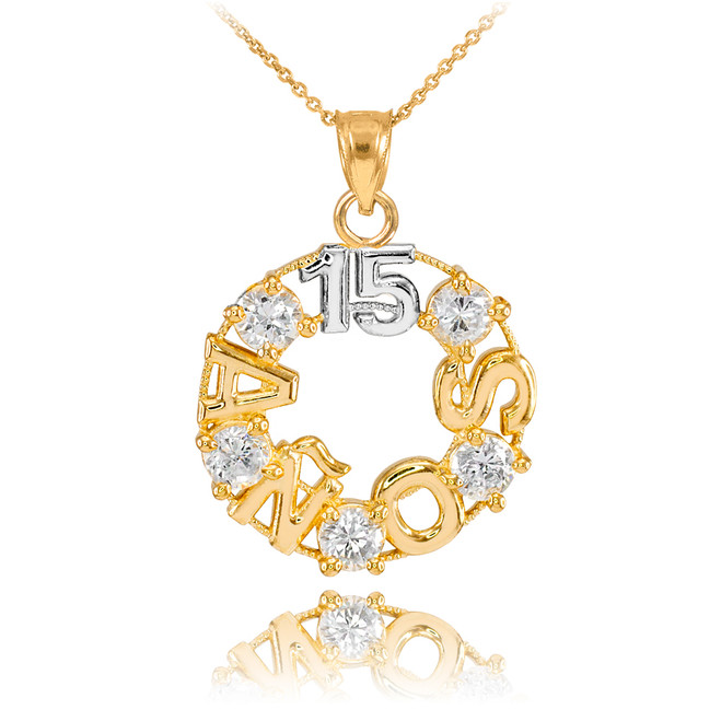 14K Two Tone Gold 15 Años CZ Pendant Necklace