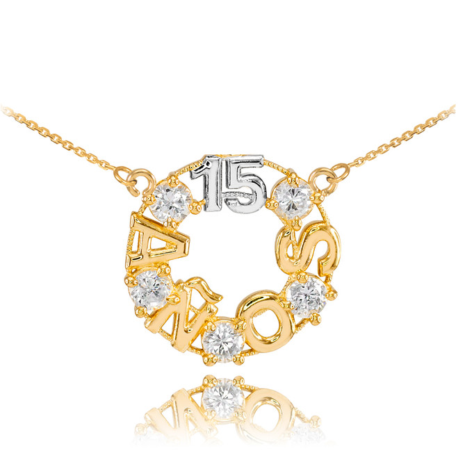 14K Two Tone Gold 15 Años CZ Necklace