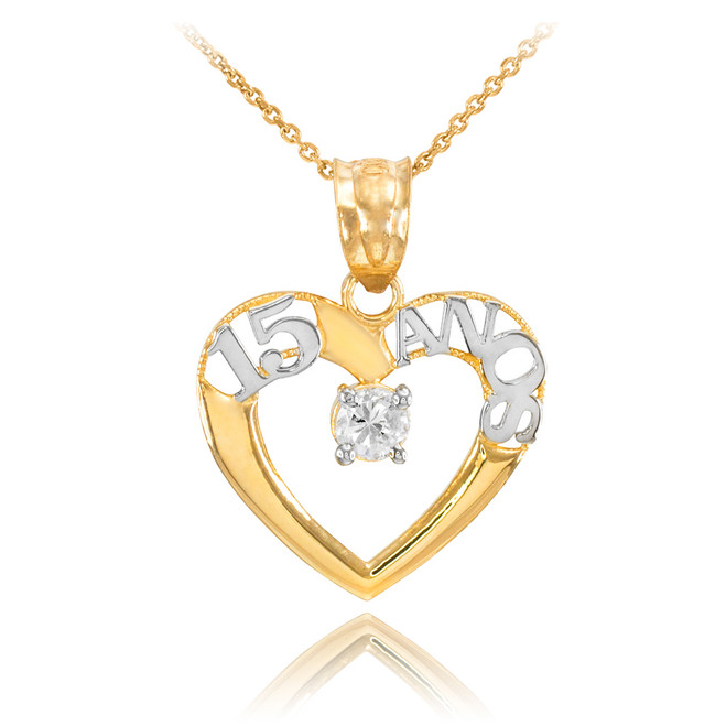 14K Two Tone Gold 15 Años Heart CZ Pendant Necklace