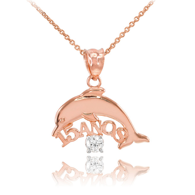 14K Rose Gold 15 Años Dolphin CZ Pendant Necklace