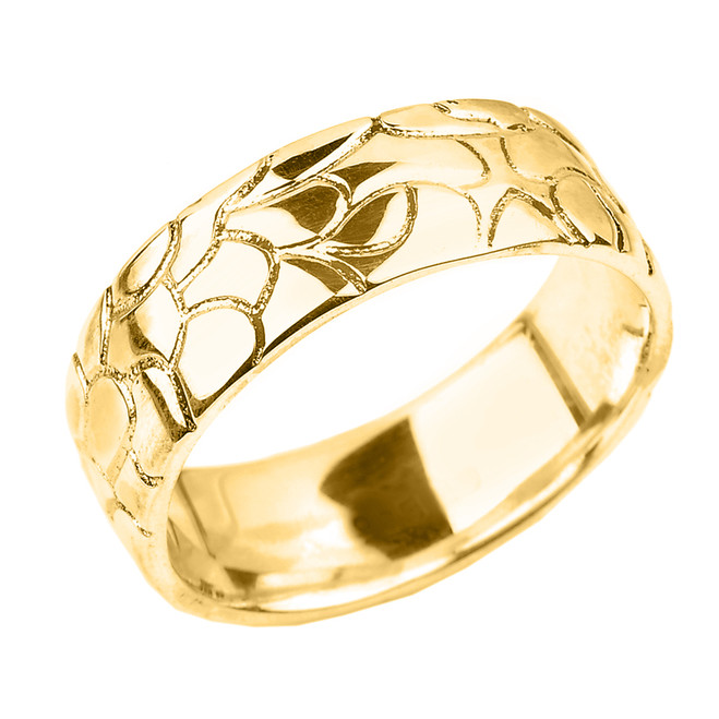 Yellow Gold Nugget Wedding Band - 7 MM