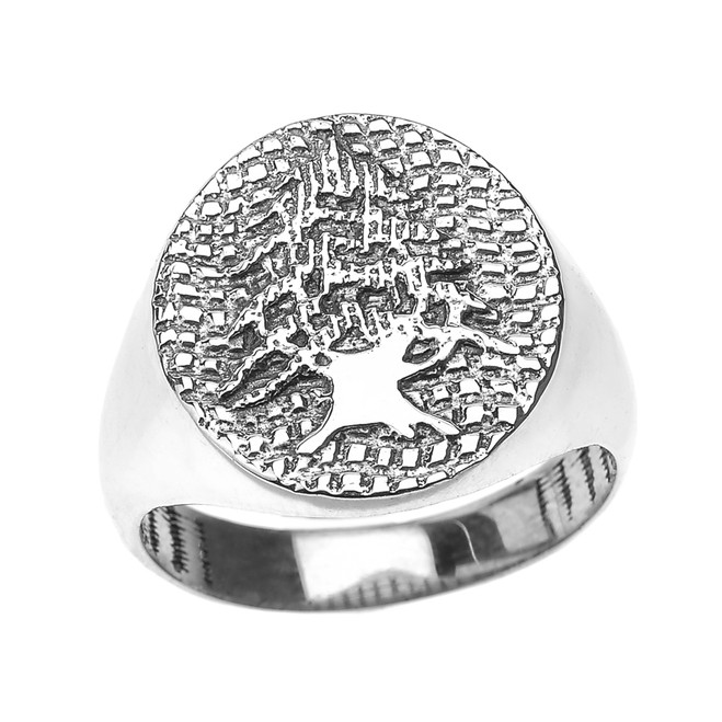 Sterling Silver Lebanese Cedar Tree Men's  Ring