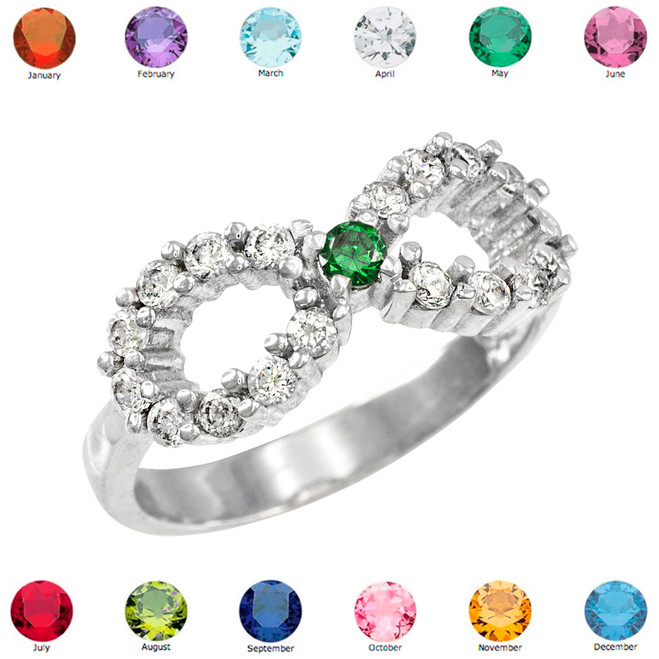 Solid White Gold Infinity Birthstone CZ Ring