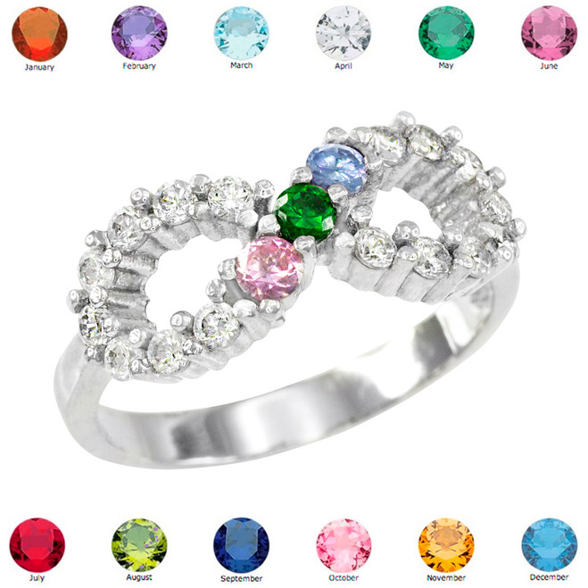 Solid White Gold Infinity CZ Ring with Interchangable Birthstones