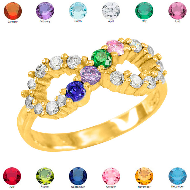 Gold Infinity CZ Four Birthstone Ring