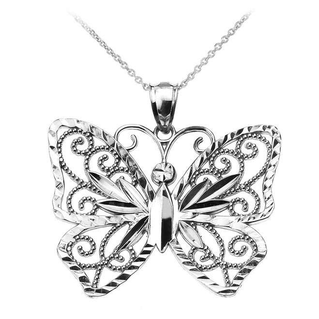 White Gold Filigree Butterfly Pendant Necklace