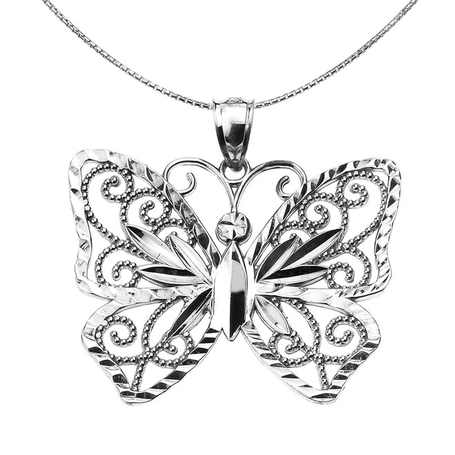 Sterling Silver Filigree Butterfly Pendant Necklace