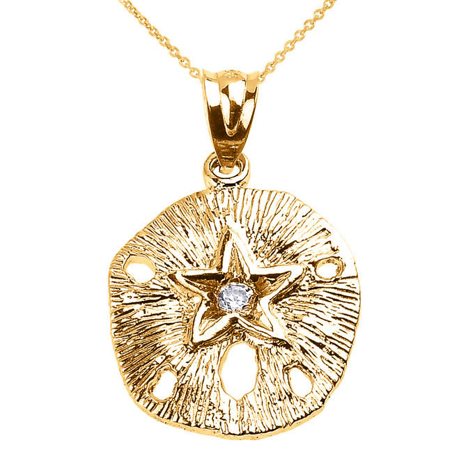 Yellow Gold Sand Dollar CZ Pendant Necklace