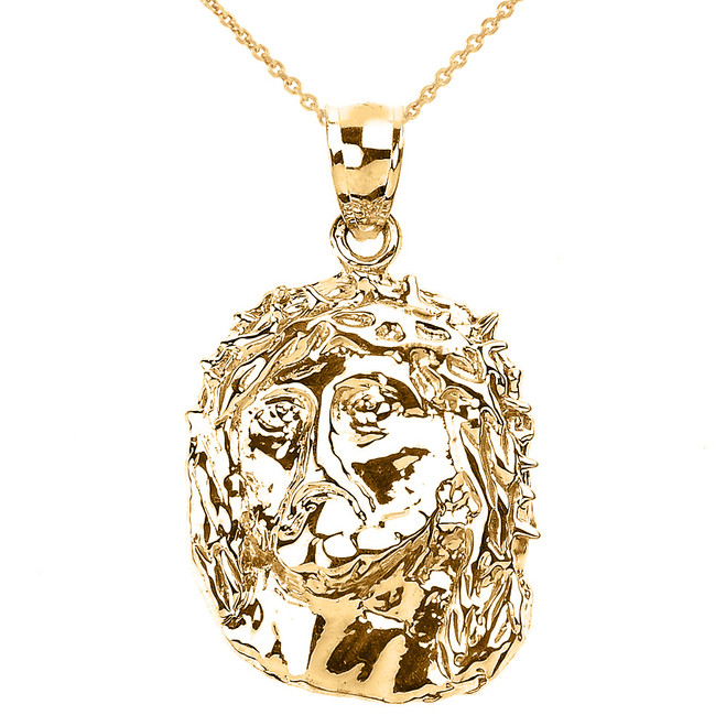 Polished Yellow Gold Jesus Face Pendant Necklace