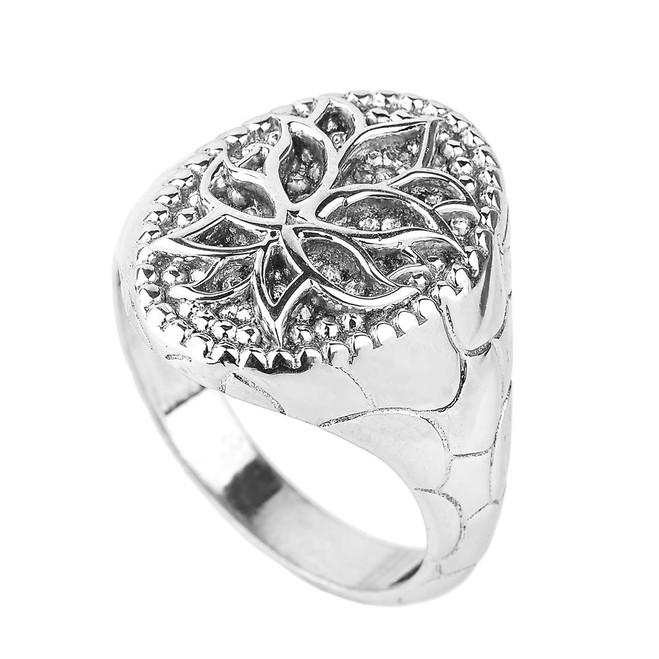 Sterling Silver Lotus Blossom Flower Men's Ring