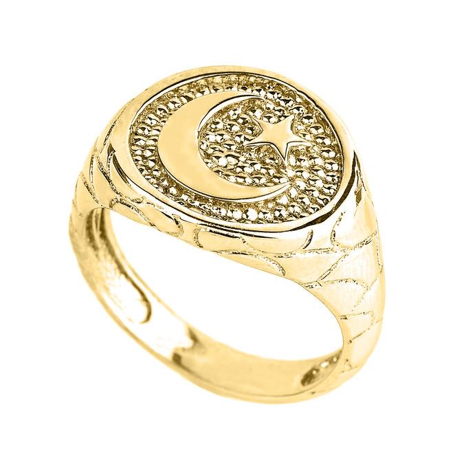 Yellow Gold Islamic Crescent Moon Men's Ring