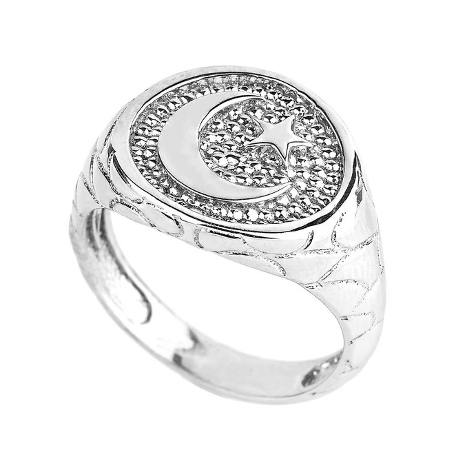 White Gold Islamic Crescent Moon Men's Ring