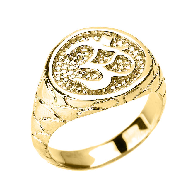 Yellow Gold Textured Band Om/Ohm Men's Ring