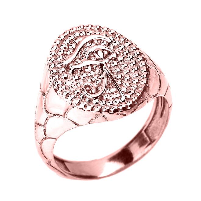 Rose Gold Textured Band Eye of Horus Men's Ring