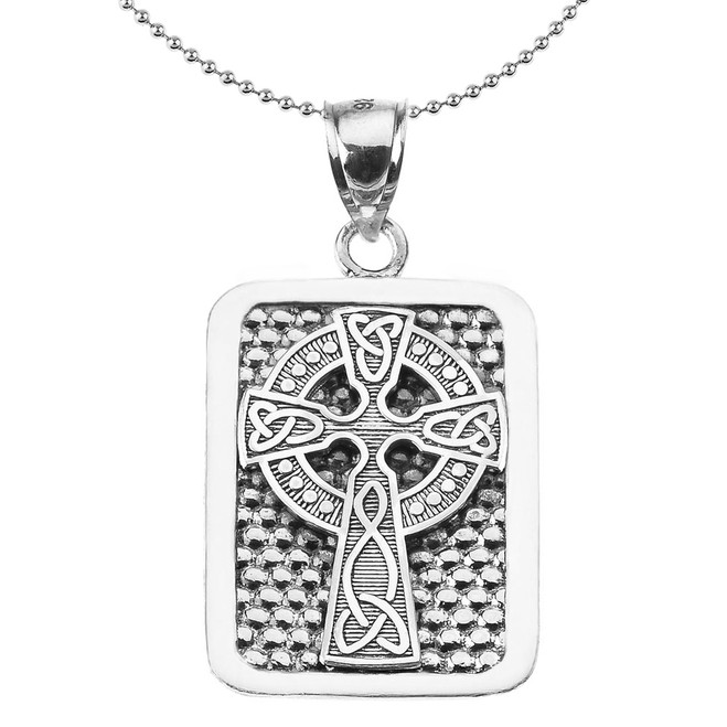 Sterling Silver Celtic Knot Cross Engravable Pendant Necklace