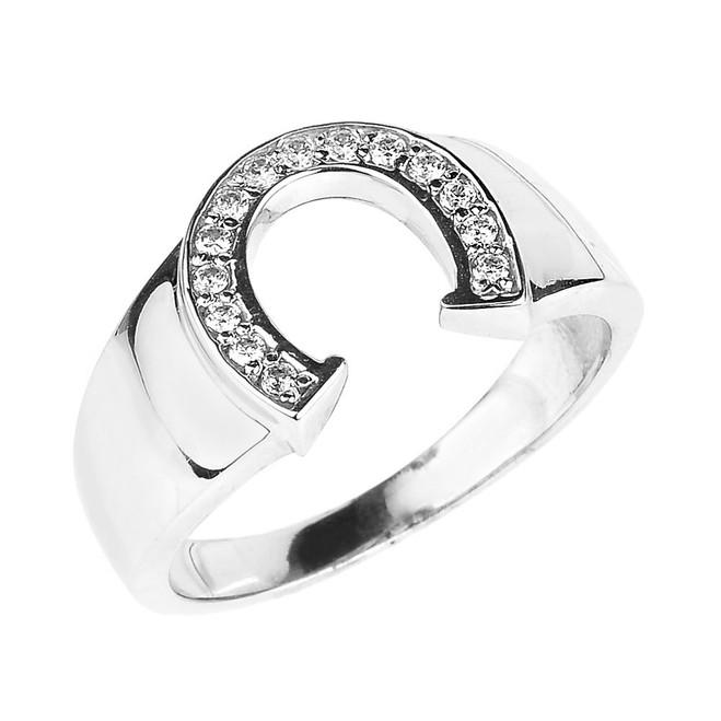 White Gold Diamond Horseshoe Men's Ring
