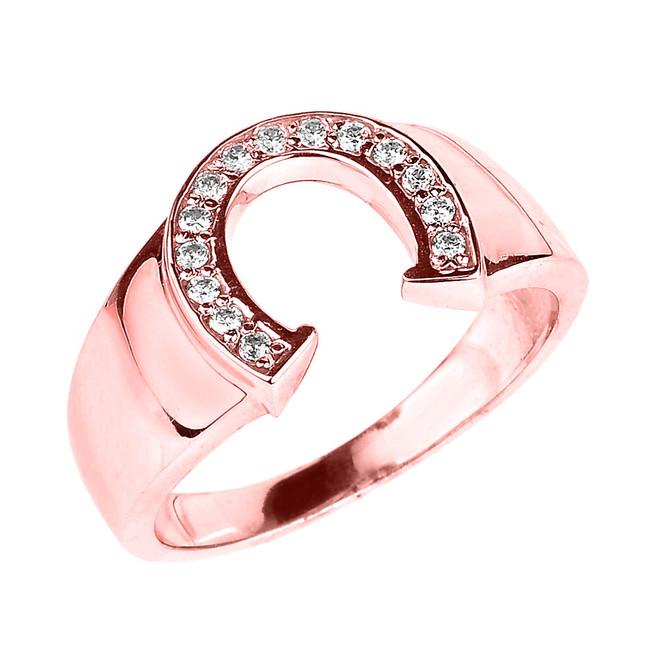 Rose Gold Cubic Zirconia Horseshoe Men's Ring