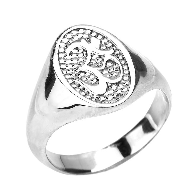 High Polished White Gold Om/Ohm Men's Ring