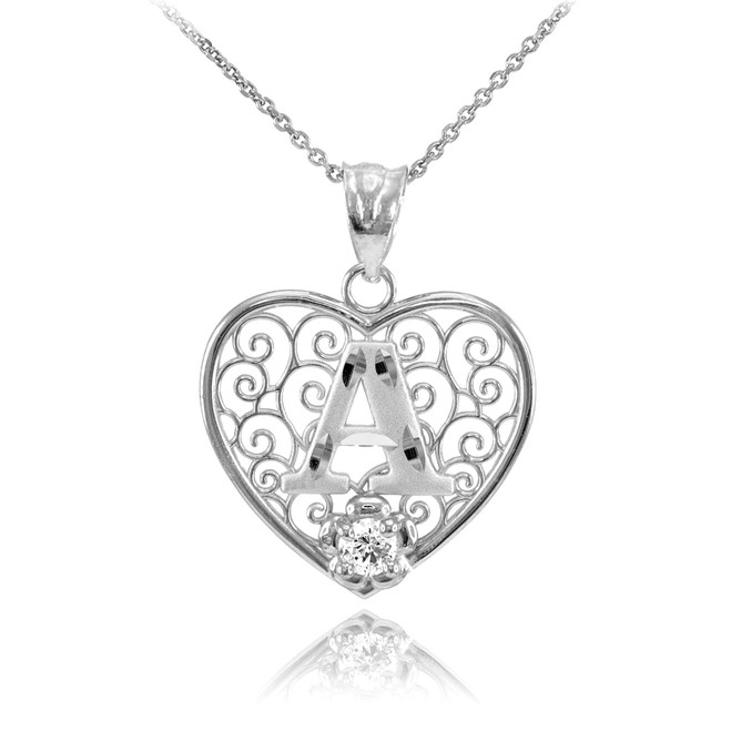 "Silver Filigree Heart ""A"" Initial CZ Pendant Necklace"