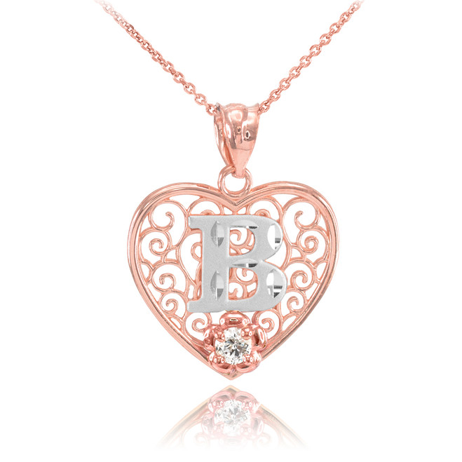 "Two Tone Rose Gold Filigree Heart ""B"" Initial CZ Pendant Necklace"