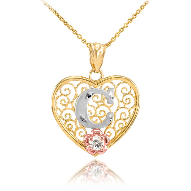"""Two Tone Yellow Gold Filigree Heart """"C"""" Initial CZ Pendant Necklace"""