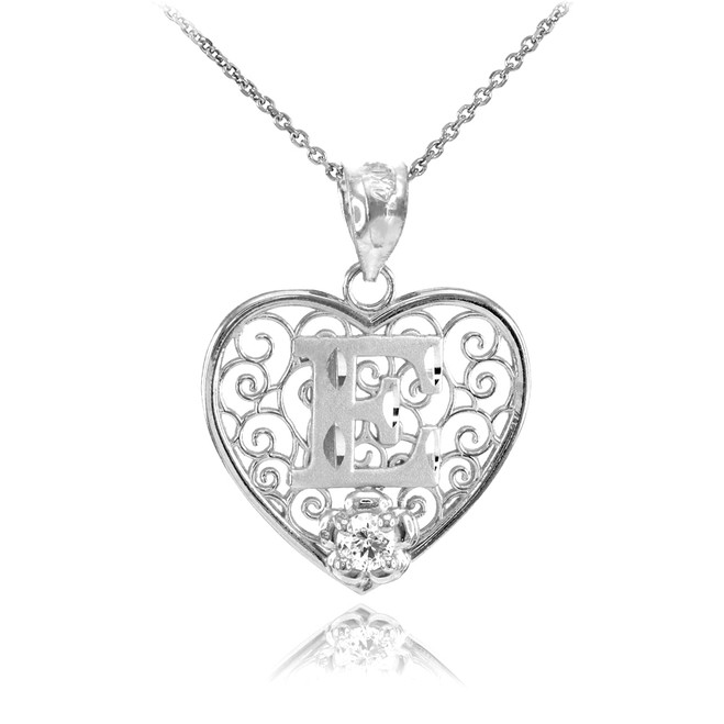 "White Gold Filigree Heart ""E"" Initial CZ Pendant Necklace"