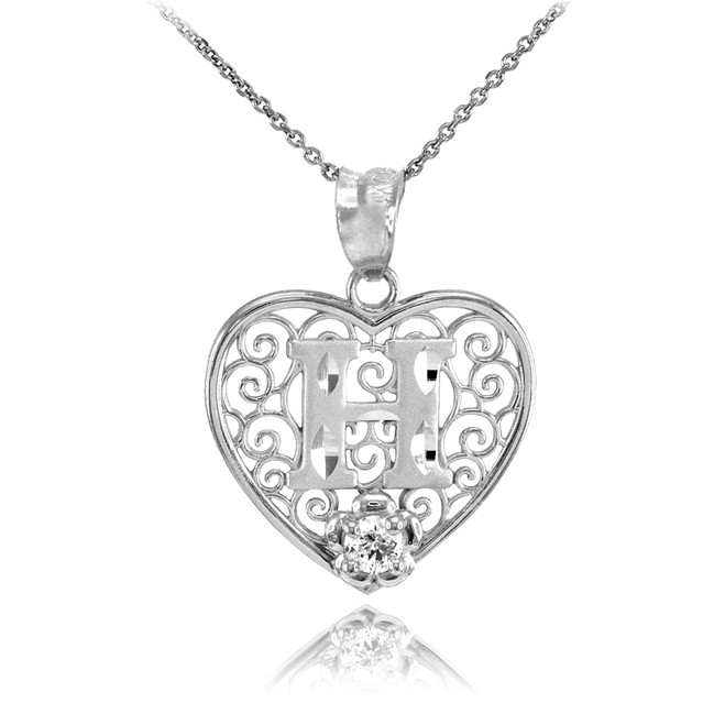 "White Gold Filigree Heart ""H"" Initial CZ Pendant Necklace"