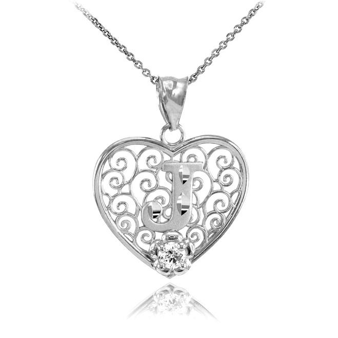"Silver Filigree Heart ""J"" Initial CZ Pendant Necklace"