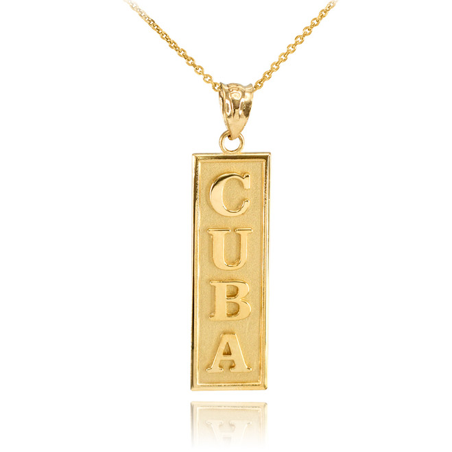 Solid Gold CUBA Pendant Necklace
