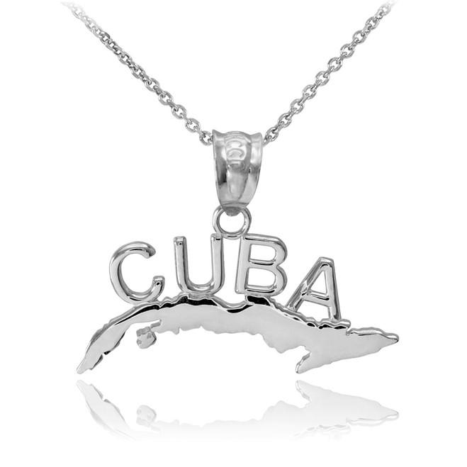 White Gold CUBA  Pendant Necklace
