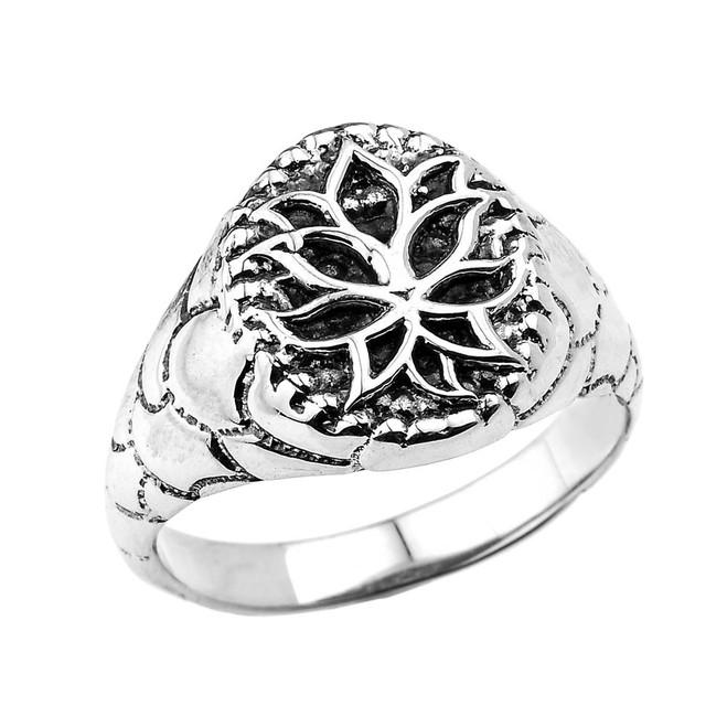 Sterling Silver Oval Lotus Flower Men's Ring