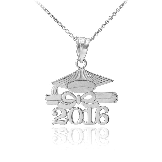 "White Gold ""CLASS OF 2016"" Graduation Pendant Necklace"