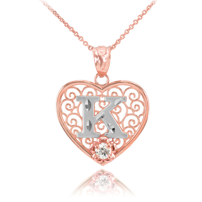 "Two Tone Rose Gold Filigree Heart ""K"" Initial CZ Pendant Necklace"