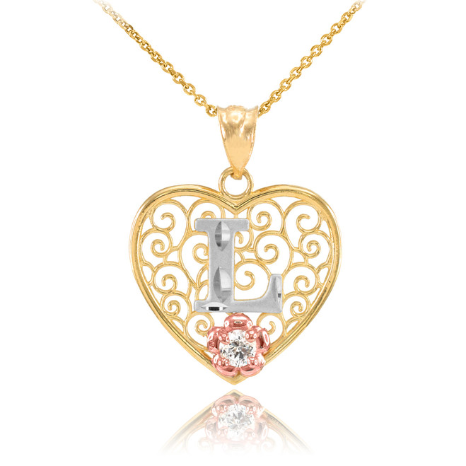 "Two Tone Yellow Gold Filigree Heart ""L"" Initial CZ Pendant Necklace"