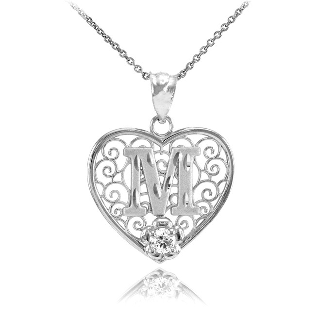 "Silver Filigree Heart ""M"" Initial CZ Pendant Necklace"