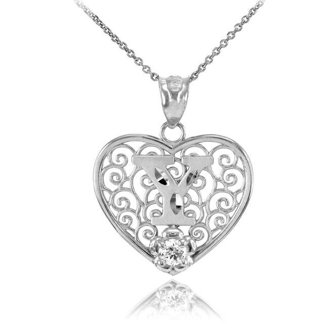 """White Gold Filigree Heart """"Y"""" Initial CZ Pendant Necklace"""