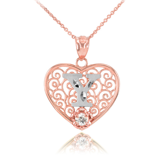 """Two Tone Rose Gold Filigree Heart """"Y"""" Initial CZ Pendant Necklace"""