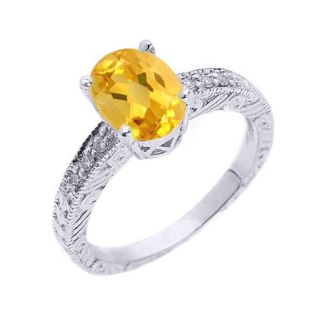 Sterling Silver Art Deco Citrine and White Topaz Birthstone Ring