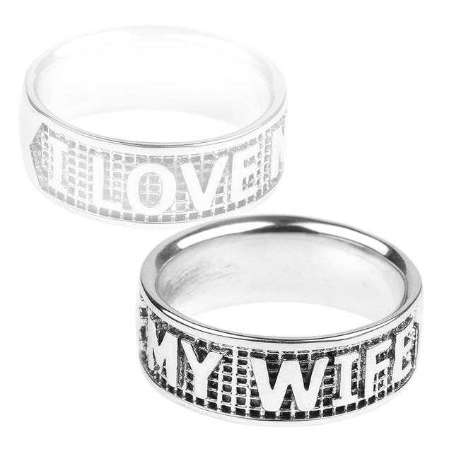 "Sterling Silver ""I LOVE MY WIFE"" Statement Band Ring"