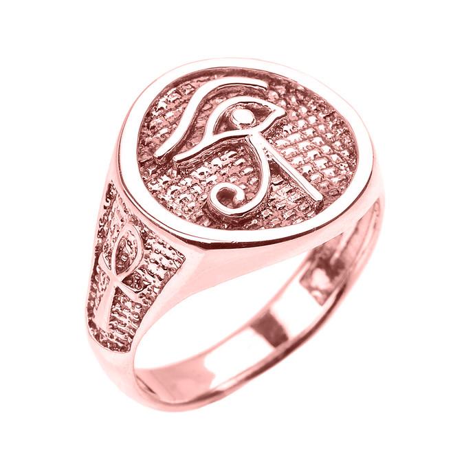 Rose Gold Eye of Horus with Egyptian Ankh Crosses Men's Ring