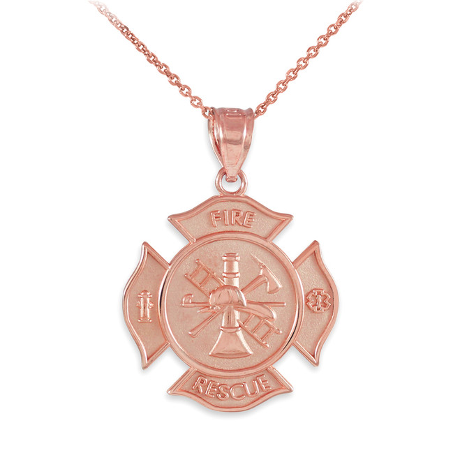 Rose Gold Fire Rescue Firefighter Solid Badge Pendant Necklace
