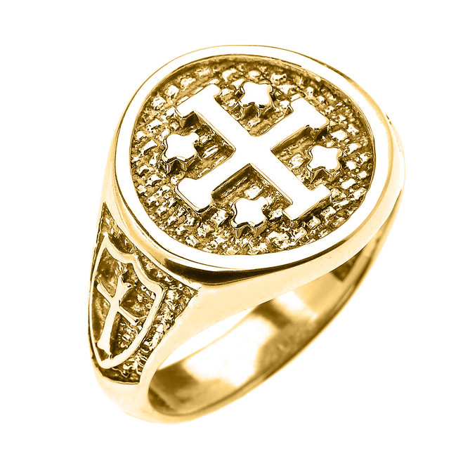 Yellow Gold Jerusalem Crusaders Cross Five Wounds of Christ Men's Ring