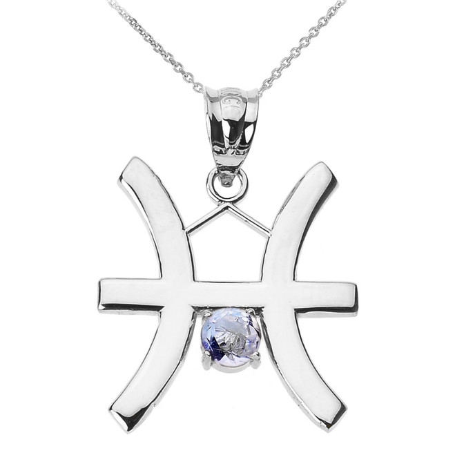 White Gold Pisces Zodiac Sign March Birthstone Pendant Necklace
