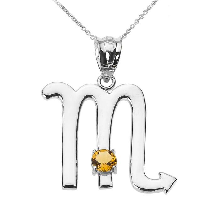 White Gold Scorpio Zodiac Sign November Birthstone Pendant Necklace
